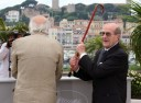 Manoel de Oliveira (R) jokes with French actor Michel Piccoli during a photocall at the 61st Cannes International Film Festival on May 19, 2008