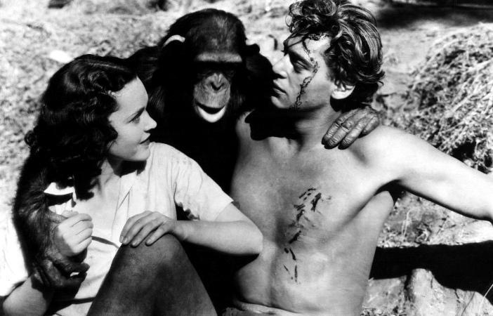 Maureen O'Hara, Cheeta & Johnny Weissmuller (Tarzan the Ape Man)