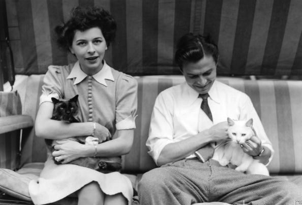 James Mason at home with his wife Pamela Kelling and their two cats
