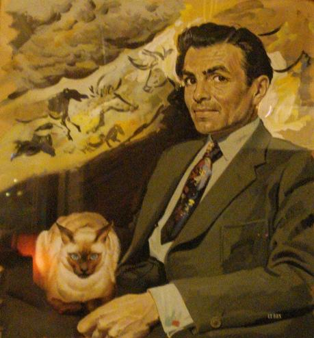This fantastically mad painting of James Mason, a siamese cat and some cave art is in The Harp in London's West End