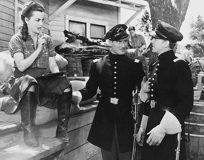 Olivia de Havilland, Errol Flynn, Ronald Reagan (Santa Fe Trail)