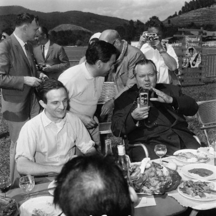 François Truffaut and American actor and director Orson Welles