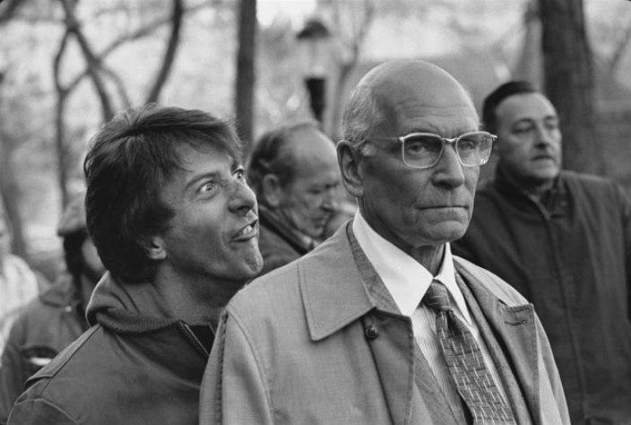 Dustin Hoffman e Lawrence Olivier no set de Maratona da Morte (Marathon Man) - Central Park, New York, 1976