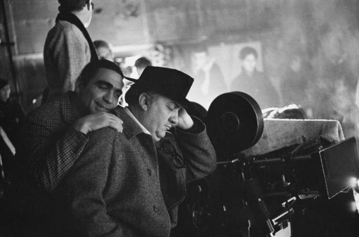 Giuseppe Rotunno e Federico Fellini no set de Satyricon - Roma, Itália, 1969