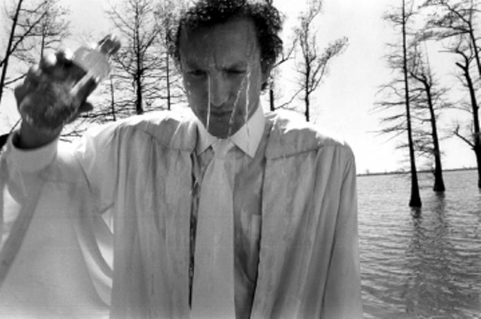 Woody Harrelson no set of The People vs Larry Flynt - Memphis, EUA, 1996