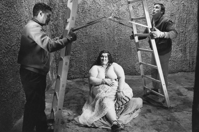 An Extra and Crew Members on the Set of Fellini's Satyricon, Rome, Italy, 1969