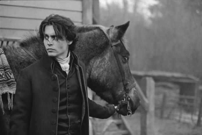 Johnny Depp and Gunpowder, his character's horse, in Tim Burton's Sleepy Hollow (1999), Surrey, England