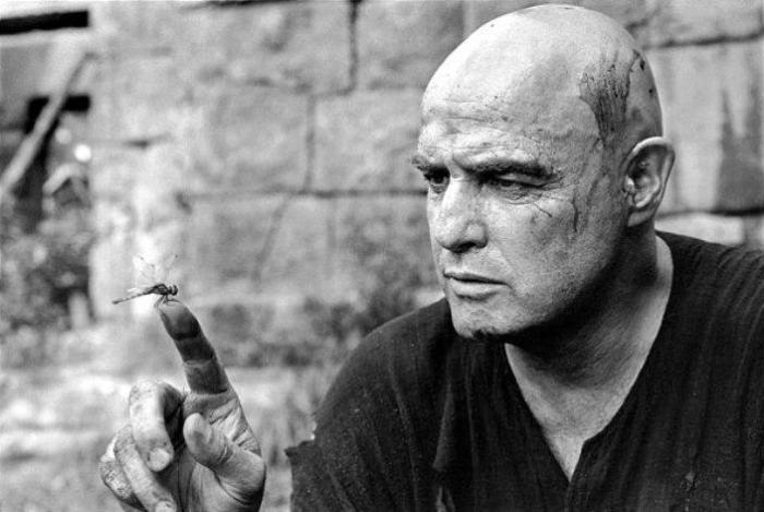 Marlon Brando on the set of Apocalypse Now, Pagsanjan, Philippines, 1976