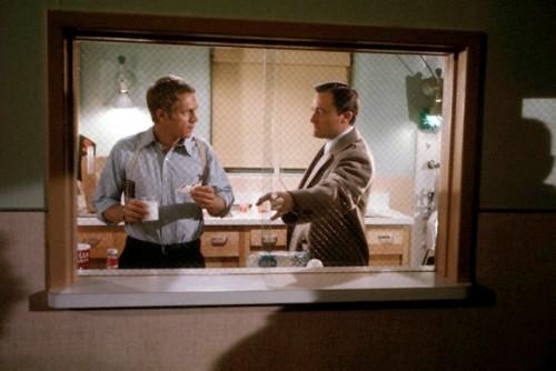 Steve McQueen and Robert Vaughn on the set ofBullitt