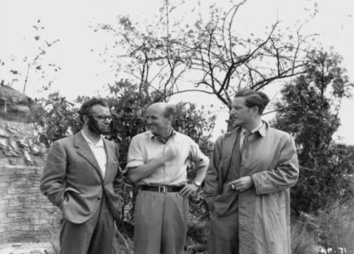 Esmond Knight, Michael Powell and Anton Walbrook, who was visiting the set of BlackNarcissus